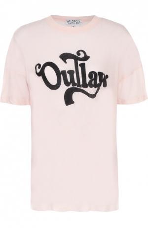 Удлиненная футболка прямого кроя с контрастной надписью Wildfox. Цвет: бежевый
