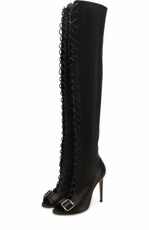 Кожаные ботфорты на шнуровке Casadei. Цвет: черный