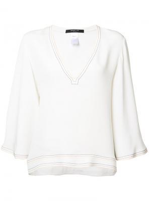 Блузка шифт с V-образным вырезом Derek Lam. Цвет: белый
