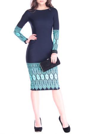 Прилегающее длинное платье Dioni. Цвет: темно-синий, принт