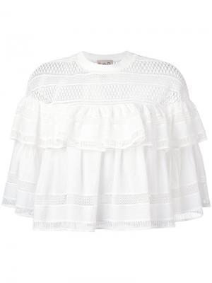 Плиссированная блузка с кружевной отделкой Sea. Цвет: белый