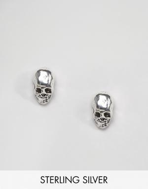 Kingsley Ryan Серебряные серьги-гвоздики в виде черепов. Цвет: серебряный