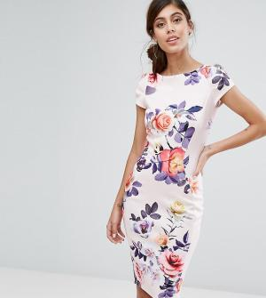 Closet London Платье-футляр с короткими рукавами и принтом. Цвет: мульти