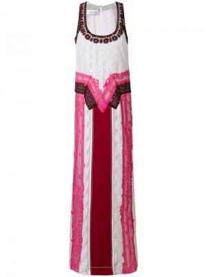 Вечернее платье с кружевной вставкой Valentino. Цвет: розовый и фиолетовый