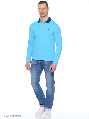 Лонгслив U.S. Polo Assn.. Цвет: голубой, синий
