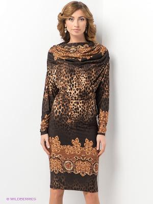 Платье МадаМ Т. Цвет: темно-коричневый, темно-бежевый