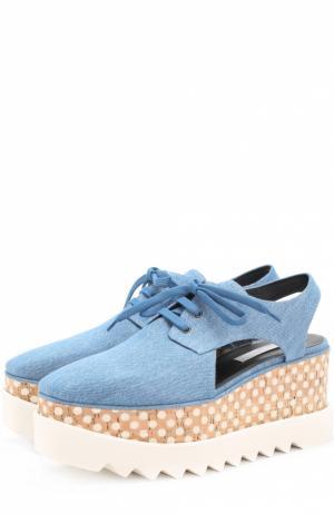 Ботинки из денима на платформе с декором Stella McCartney. Цвет: голубой