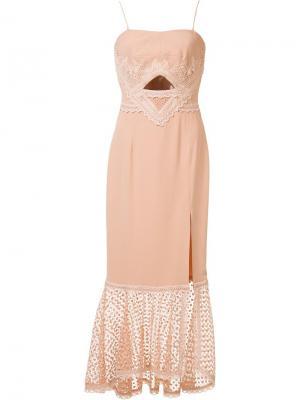 Платье с кружевным подолом Jonathan Simkhai. Цвет: розовый и фиолетовый