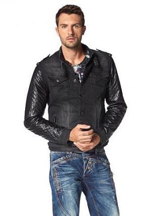 Джинсовая куртка CIPO & BAXX. Цвет: черный потертый