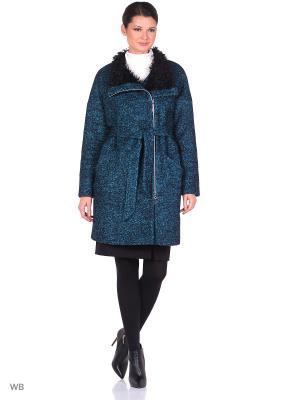 Пальто утепленное Barcelonica. Цвет: черный, лазурный