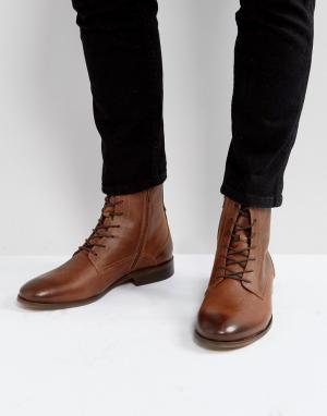 Zign Светло-коричневые кожаные ботинки. Цвет: коричневый