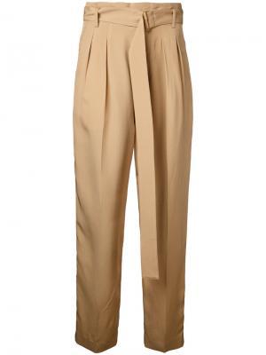 Укороченные брюки с высокой талией Cityshop. Цвет: телесный