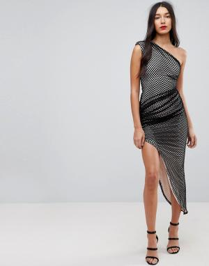 Forever Unique Асимметричное сетчатое платье на одно плечо. Цвет: черный
