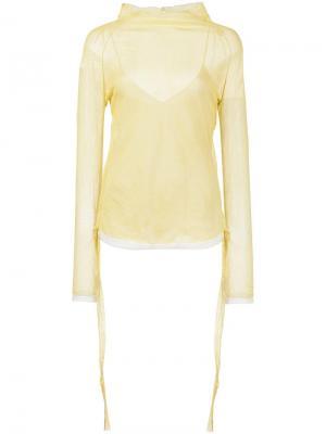 Прозрачная блузка с отворотной горловиной Barbara Casasola. Цвет: жёлтый и оранжевый