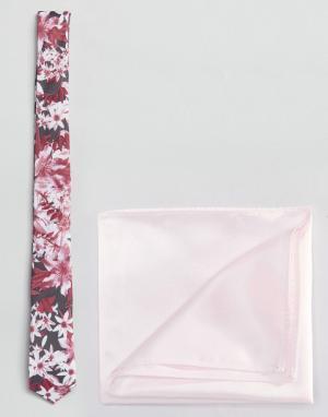 ASOS Розовый галстук с цветочным принтом и платок для нагрудного ка. Цвет: серый