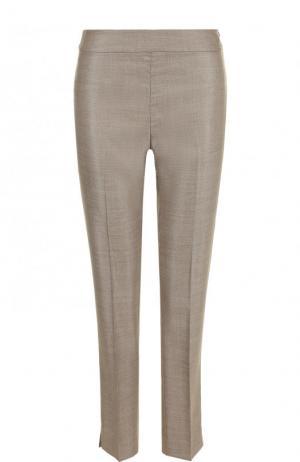Укороченные брюки из смеси шерсти и шелка со стрелками St. John. Цвет: серый