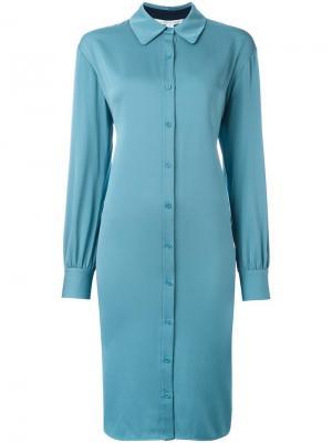 Платье-рубашка на пуговицах Dvf Diane Von Furstenberg. Цвет: синий