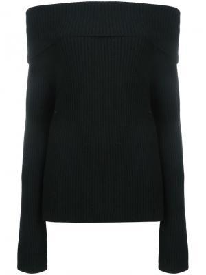Cashmere off-shoulders ribbed jumper The Row. Цвет: чёрный