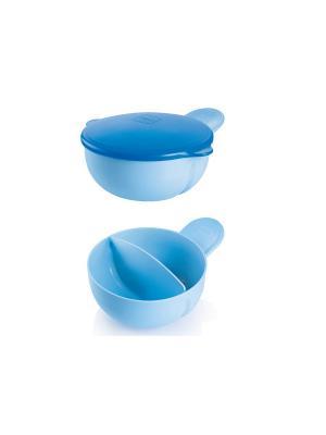 Тарелка 2-х секционная с крышкой MAM Feeding bowl-kulho, от 6+ месяцев. Цвет: голубой