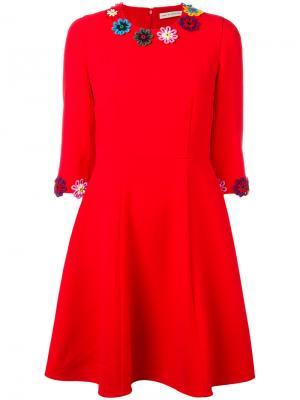 Платье Cooper с цветочной вышивкой Mary Katrantzou. Цвет: красный