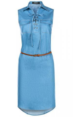 Джинсовое платье с поясом из экокожи La reine blanche