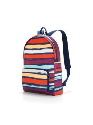 Рюкзак складной Mini maxi artist stripes Reisenthel. Цвет: синий, оранжевый, сливовый