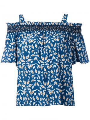 Топ с открытыми плечами и растительным узором Tanya Taylor. Цвет: синий