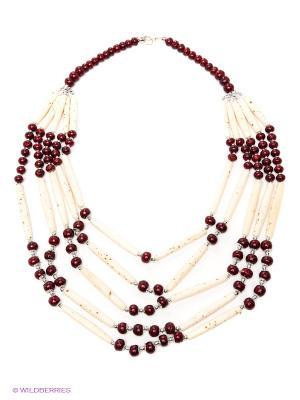 Ожерелье ГАНГ. Цвет: белый, бордовый