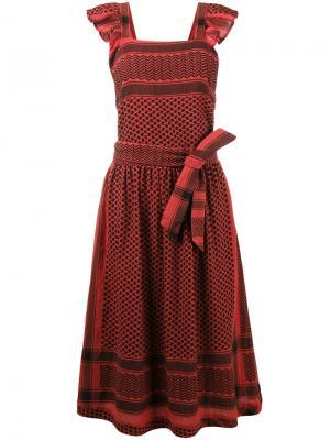 Платье на лямках с зигзагообразным узором Cecilie Copenhagen. Цвет: красный