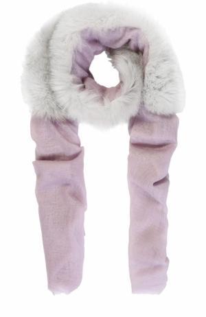 Кашемировый палантин с отделкой из меха енота Vintage Shades. Цвет: светло-розовый