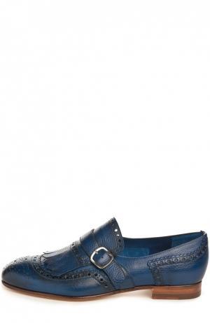 Кожаные монки с перфорацией Santoni. Цвет: синий