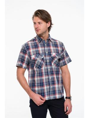 Рубашка Westrenger. Цвет: темно-синий, белый