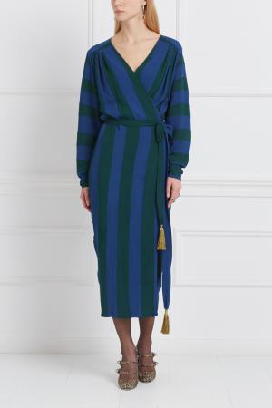 Шелковое платье Inshade. Цвет: синий, зеленый