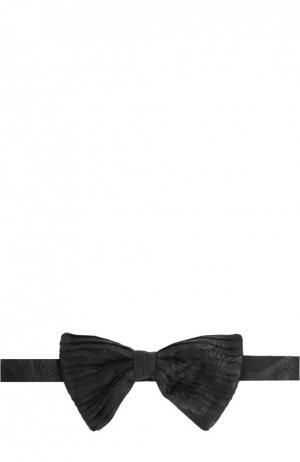 Шелковый галстук-бабочка с узором Brioni. Цвет: темно-серый