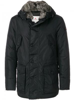 Куртка с капюшоном и меховой оторочкой Peuterey. Цвет: чёрный