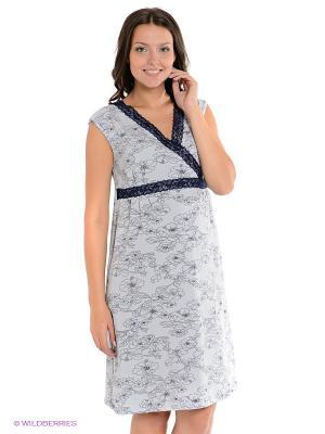 Сорочка 2 в 1 (для беременных и для кормления) Nuova Vita. Цвет: серо-голубой, темно-синий