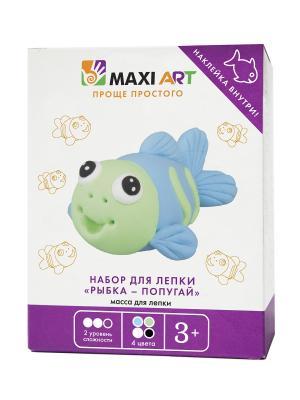 Набор для Лепки Рыбка - Попугай MAXITOYS. Цвет: белый, голубой, салатовый, черный