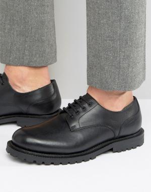 Hudson London Кожаные туфли дерби эксклюзивно для ASOS. Цвет: черный