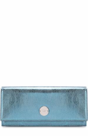 Клатч Fie из металлизированной кожи Jimmy Choo. Цвет: голубой