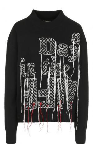 Шерстяной свитер с контрастной вышивкой Sacai. Цвет: черный