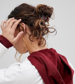 ASOS Набор из 4 больших зажимов для волос DESIGN. Цвет: коричневый