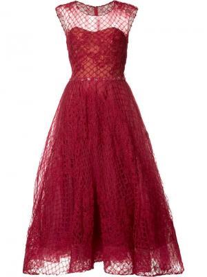 Расклешенное платье с прозрачным топом Marchesa Notte. Цвет: красный