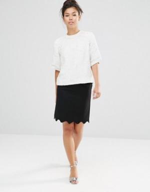 The WhitePepper Мини-юбка с фактурной отделкой по краю. Цвет: черный