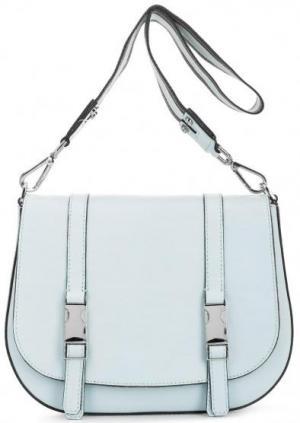Кожаная сумка через плечо с откидным клапаном Gianni Chiarini. Цвет: голубой