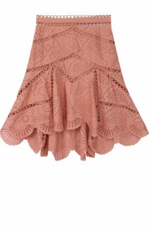 Кружевная юбка-миди асимметричного кроя Zimmermann. Цвет: розовый