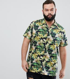 Heart & Dagger Строгая приталенная рубашка с гавайским принтом и отложным воротником. Цвет: желтый
