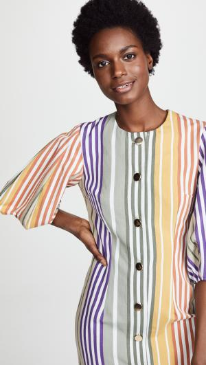 Button Down Dress with Puff Sleeves Tata Naka