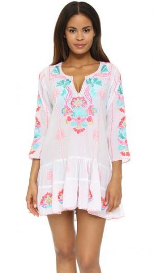 Пляжное мини-платье с вышивкой Juliet Dunn. Цвет: белый/розовый/мульти