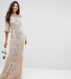 Maya Tall Декорированное платье-бандо макси. Цвет: розовый