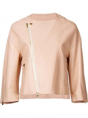 Объемная байкерская куртка Astraet. Цвет: телесный